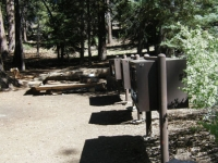 Bear-proof food storage containers in Jackson Flat Group Campground - Wrightwood CA Camping