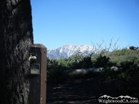 Water faucet in Jackson Flat Group Campground with Mt Baldy in background - Wrightwood CA Camping