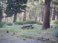 Picnic Table in Lupine Campground of Prairie Fork - Wrightwood CA Camping