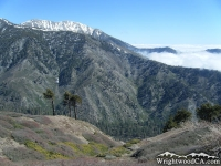 Looking down at Prairie Fork from Blue Ridge with Pine Mountain Ridge and Mt Baldy in background - Wrightwood CA