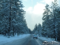 Highway 2 in Swarthout Valley (Wrightwood) after winter storm - Wrightwood CA