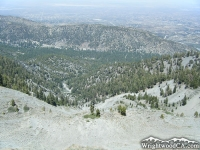 Looking down at Swarthout Valley and town of Wrightwood from the landslide on Wright Moutnain - Wrightwood CA