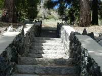 Stairs leading to the start of the Big Pines Nature Trail - Wrightwood CA Hiking