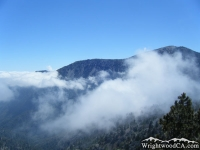 Clouds around Mt Baden Powell as viewed from Lightning Ridge Nature Trail - Wrightwood CA Hiking