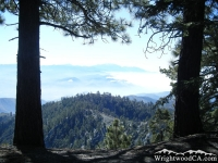 Pacific Crest Trail (PCT) at top of Wright Mountain, looking toward San Bernardino Mountains - Wrightwood CA Hiking