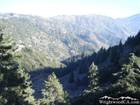 Looking down Vincent Gulch from Mt Baden Powell Trail - Wrightwood CA Hiking