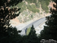 Looking down at Vincent Gap and Highway 2 from Mt Baden Powell Trail - Wrightwood CA Hiking
