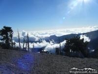 Clouds below peak of Mt Baden Powell - Wrightwood CA Hiking