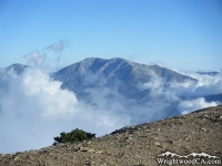 Mt Baldy peaking above clouds as viewed from Mt Baden Powell Trail - Wrightwood CA Hiking