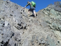 Climbing up rocks on the North Backbone Trail - Wrightwood CA Hiking