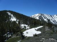 Dawson Peak (left) and Mt Baldy (right) on North Backbone Trail - Wrightwood CA Hiking