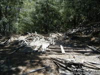 Ruins of a wood structure just off the Bighorn Mine Trail - Wrightwood CA Hiking