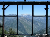 Mt Baldy framed by Bighorn Mine stucture - Wrightwood CA Hiking
