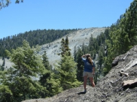 Looking at landslide of Wright Mountain from Acorn Trail - Wrightwood CA Hiking