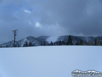 Wright Mountain behind a snow berm after a big winter storm - Wrightwood CA Mountains