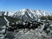 Rocks at the top of Pine Mountain with Mt Baldy in the background. - Wrightwood CA Mountains