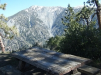Pine Mountain behind a table in Guffy Campground - Wrightwood CA Mountains