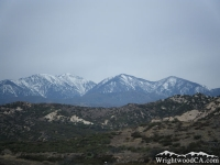 Mt Baldy (left), Dawson Peak (middle), and Pine Mountain (right) as viewed from Highway 138, east of the 15 Freeway. - Wrightwood CA Mountains