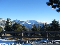 Blue Ridge (left), Pine Mountain (center), and Mt Baldy (right) as viewed during winter from Inspiration Point. - Wrightwood CA Mountains