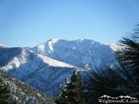 Mt Baldy above Pine Mountain Ridge during winter - Wrightwood CA Mountains