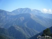 Mt Baldy (top center), Pine Mountain Ridge (center), and Prairie Fork (below Pine Mountain Ridge). - Wrightwood CA Mountains