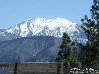 Mt Baldy in clear view of a bench in the Vincent Gap Parking Lot - Wrightwood CA Mountains