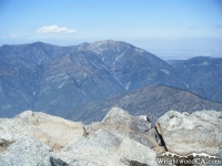 Looking at Mt Baden Powell, over rocks at the peak of Mt Baldy - Wrightwood CA Mountains