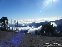 Looking down at clouds from the peak of Mt Baden Powell - Wrightwood CA Mountains