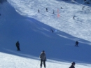 Skiers and Snowboarders coming down Goldrush at Mt High East. - Wrightwood CA Photos