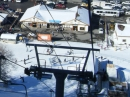 Looking down at the Angeles Crest Cafe from the Mountain High Express chair lift at Mt High East Resort. - Wrightwood CA Photos