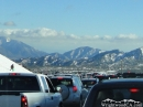 Traffic backed up on Highway 138 due to Snow Player activity. - Wrightwood CA Photos