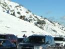 Snow Players standing in line for their turn to sled into on-coming traffic... - Wrightwood CA Photos