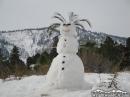 Snowman in front of Wright Mountain. - Wrightwood CA Photos