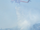 Helicopter dumping water below Circle Mountain during Sheep Fire. - Wrightwood CA Photos
