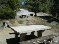 Picnic Tables in front of Big Pines Highway in the Arch Picnic Area - Wrightwood CA Mountains