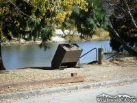 Bear-proof trash bin in front of Jackson Lake - Wrightwood CA Mountains